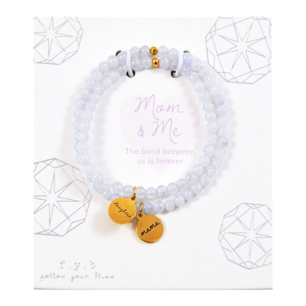 BLUE LACE AGATE MOM & ME BRACELET SET