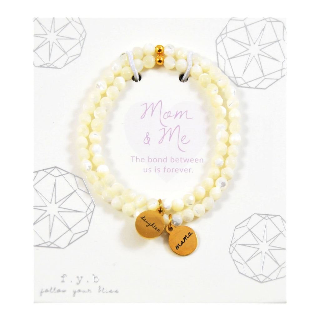 MOTHER OF PEARL MOM & ME BRACELET SET