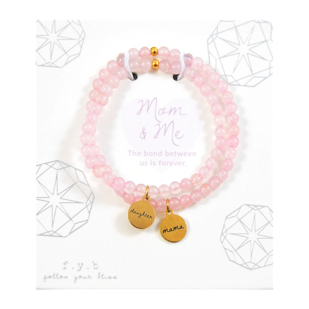 ROSE QUARTZ MOM & ME BRACELET SET