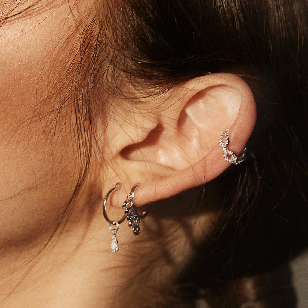 KAIA HOOP EARRINGS  SILVER CZ