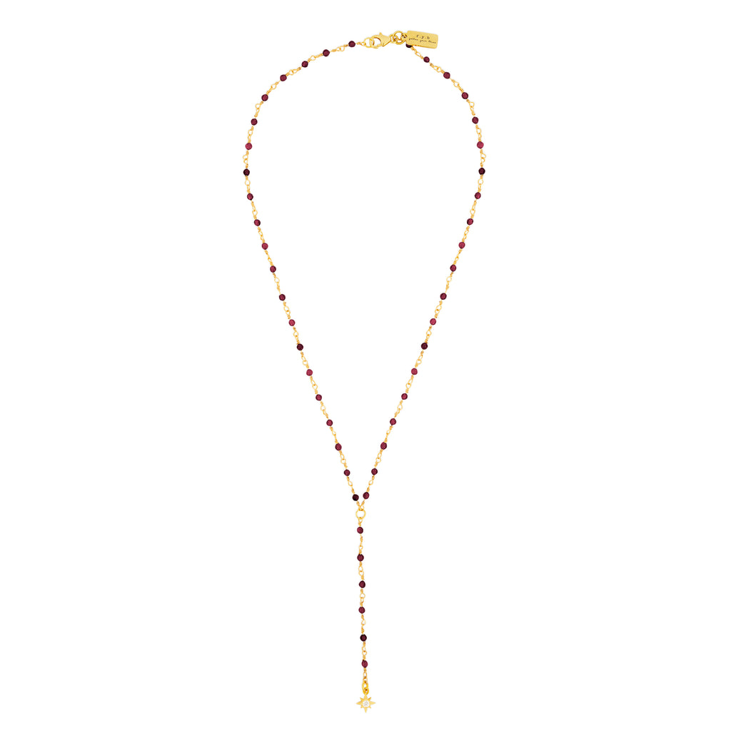 STARBURST LARIAT NECKLACE GARNET