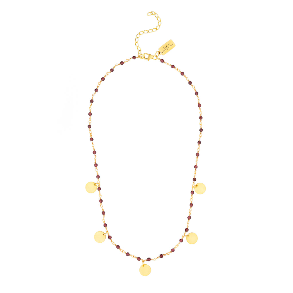 SUKI GEMSTONE STATEMENT NECKLACE GARNET