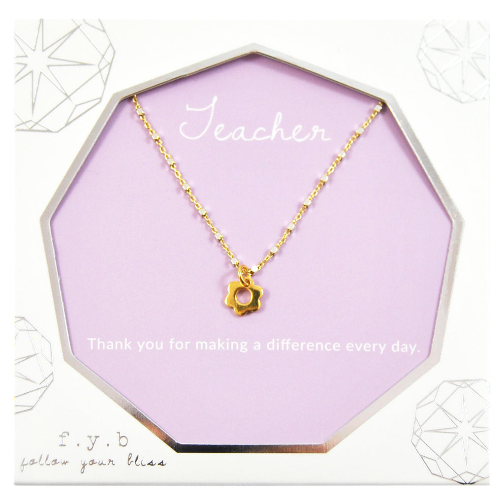 TEACHER FLOWER CHARM NECKLACE
