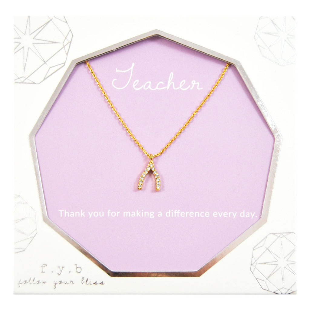 TEACHER WISHBONE CHARM NECKLACE