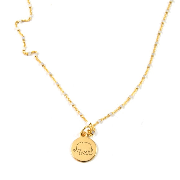 Lucky Elephant Shimmer Charm Necklace - eff.Y.bee