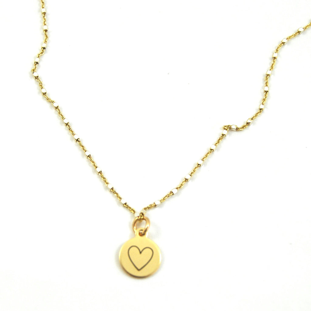 Silver Heart of Gold Charm Necklace