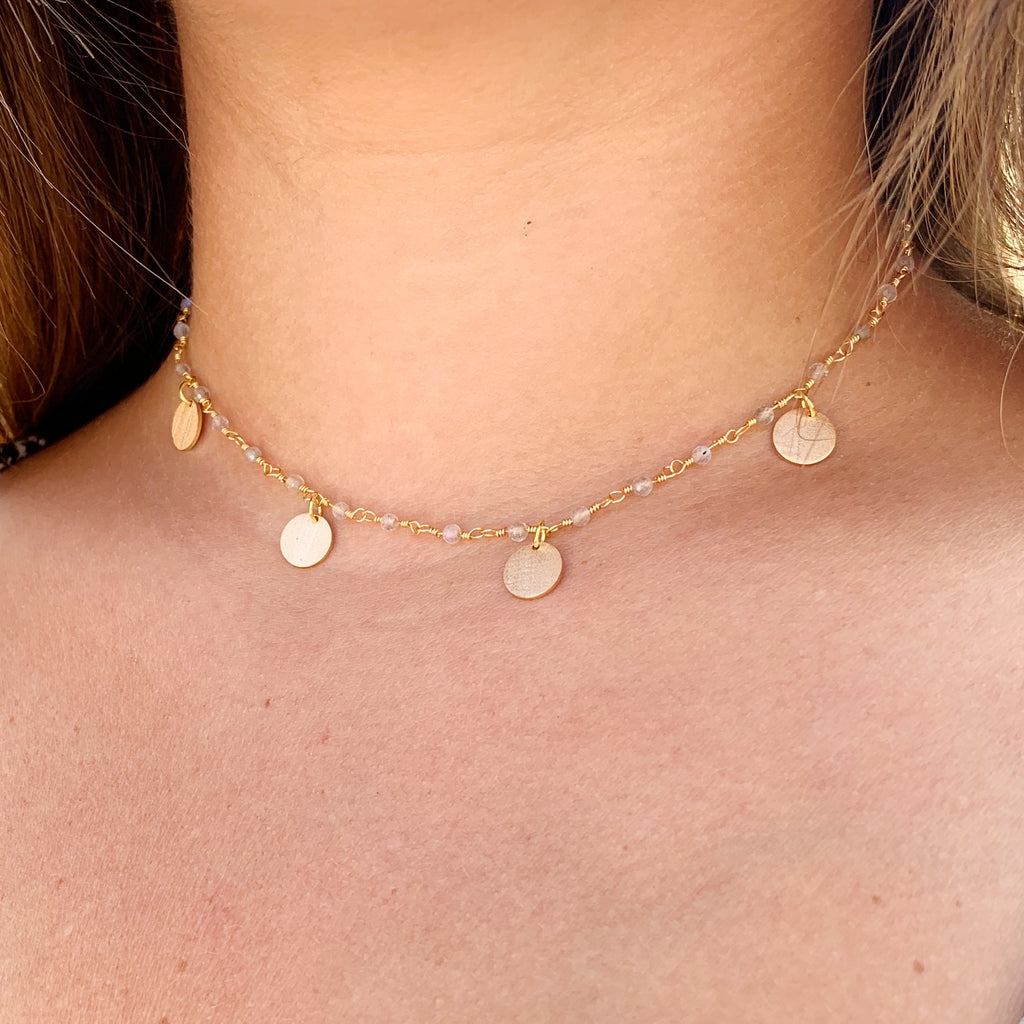 SUKI GEMSTONE STATEMENT NECKLACE MOONSTONE