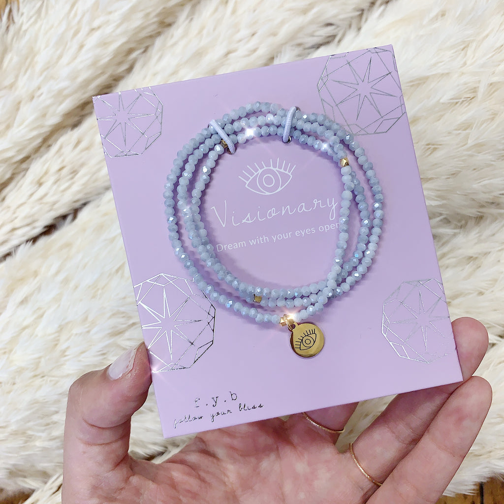CRYSTAL WRAP BRACELET POWDER BLUE VISIONARY