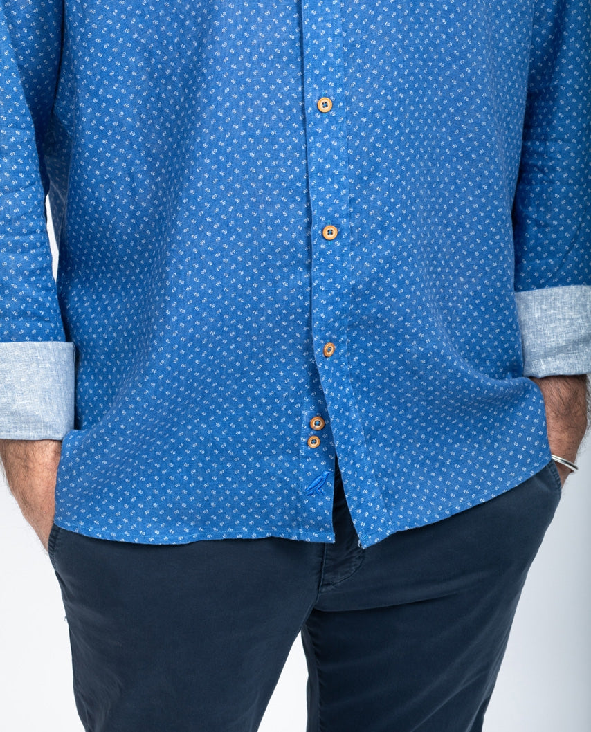 Camisa Lino Estampada Azul OUTLET