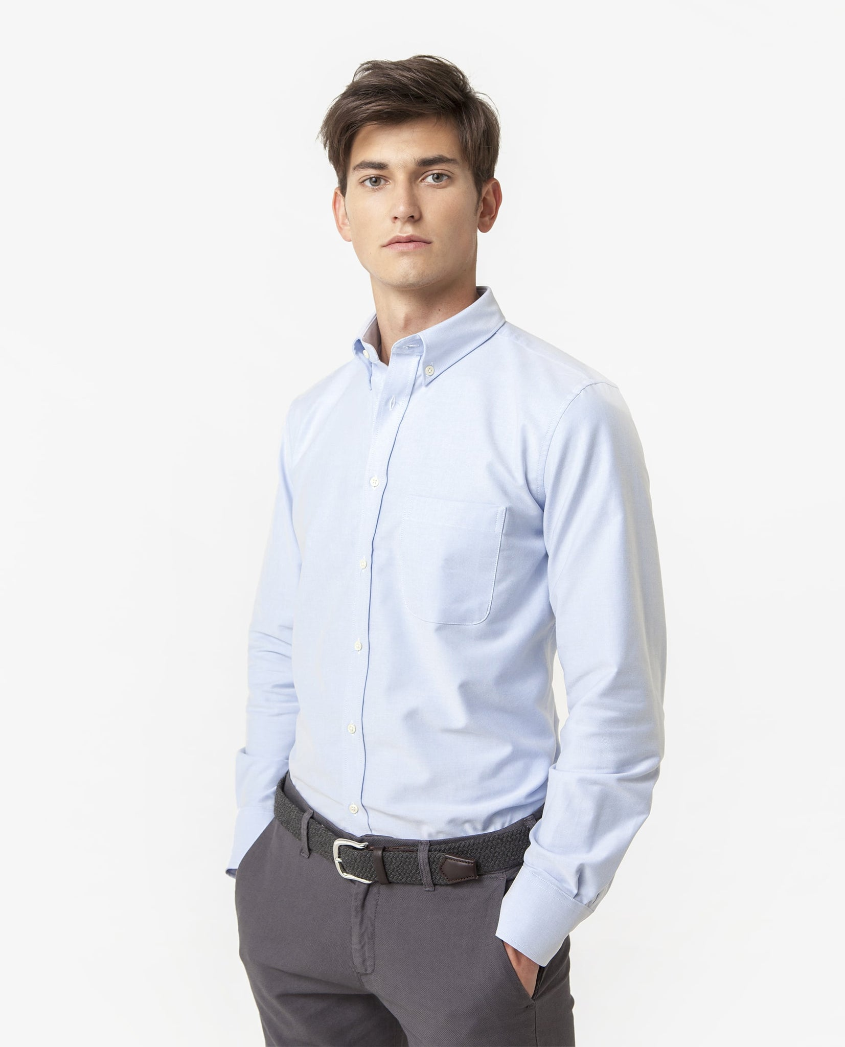 Camisa Oxford Bolsillo Azul Claro OUTLET