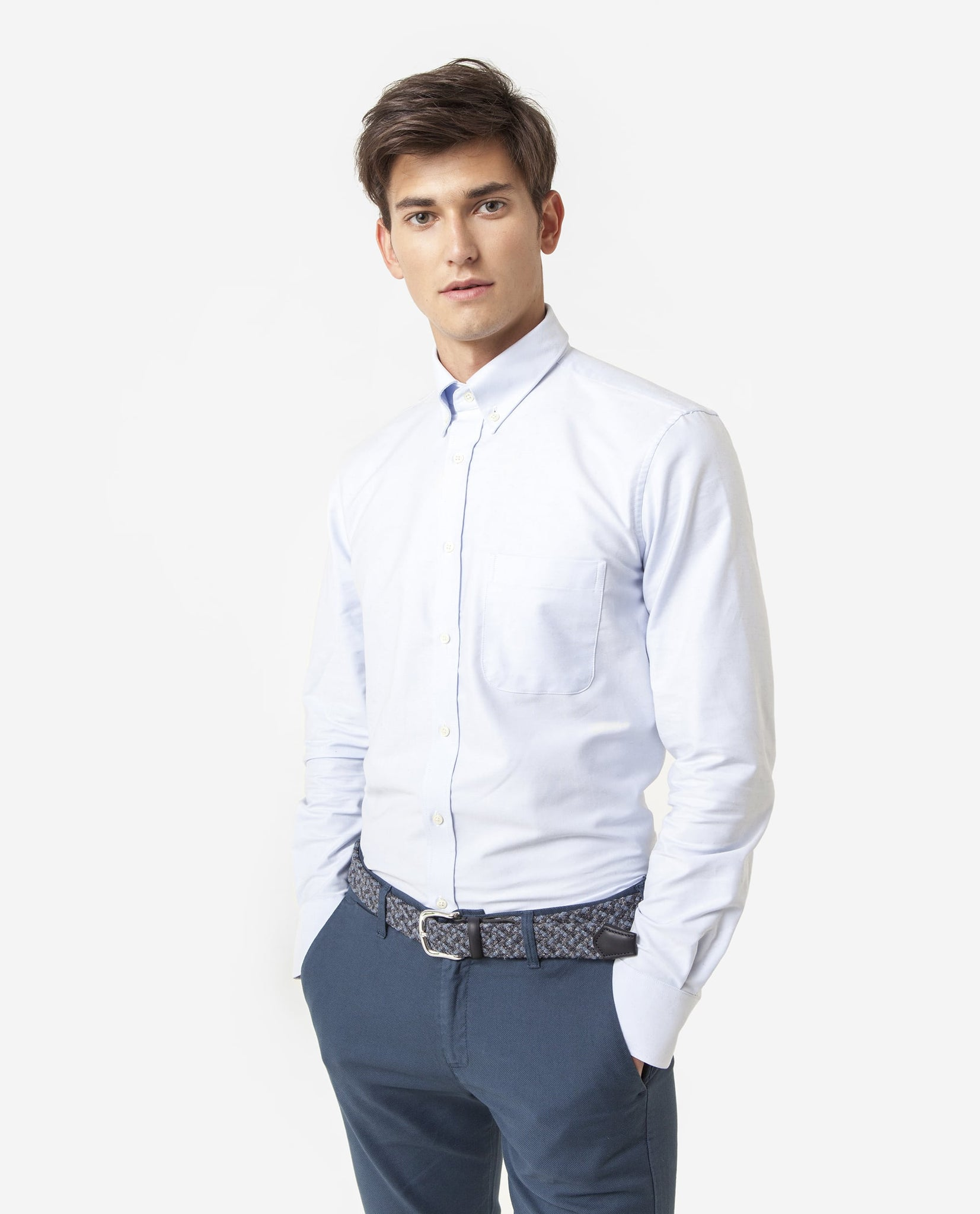 Camisa Oxford Bolsillo Celeste OUTLET