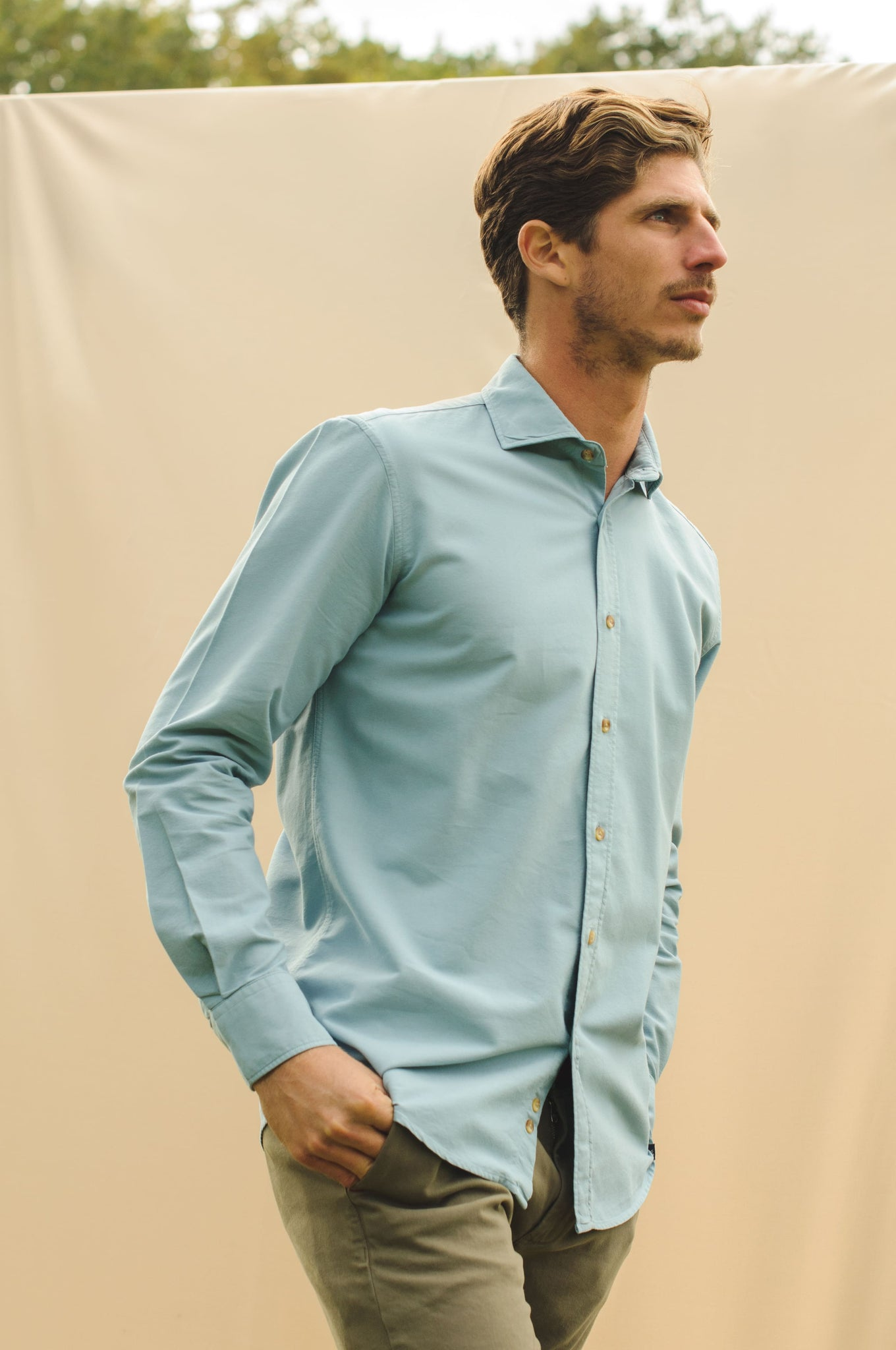 Camisa Oxford Azul Cambridge Prelavado