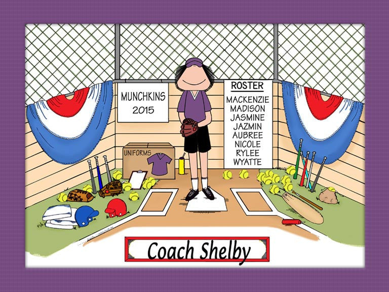 Softball Coach Special Edition Cartoon Picture