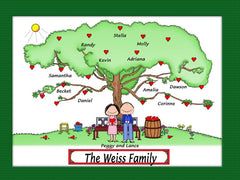 Heart Tree Couple Cartoon Picture Male/Female Personalized 1160