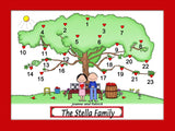 Heart Tree Couple Cartoon Picture Male/Female TEMPLATE for names 1160
