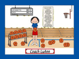 Basketball Coach Cartoon Picture Female Personalized 1185