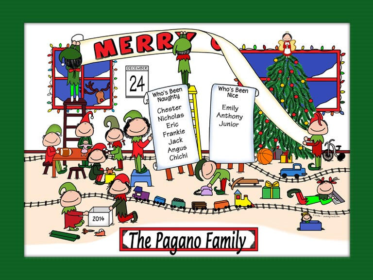 Elves Workshop Cartoon Picture Personalized 1190