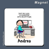 Computer Magnet Female Personalized