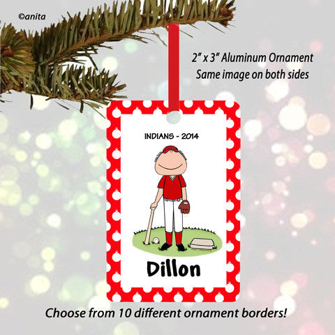 Baseball Player Ornament Male - Personalized