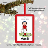 Baseball Player Ornament Female - Personalized
