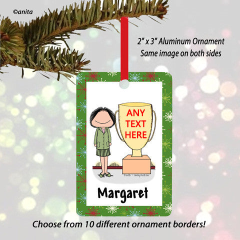 Trophy Award Ornament Female - Personalized