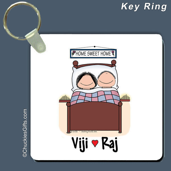 Bed Buds Couple Key Ring Personalized