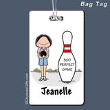 Bowler Bag Tag Female Personalized