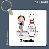 Bowler Key Ring Female Personalized