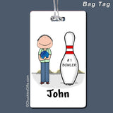 Bowler Bag Tag Male Personalized