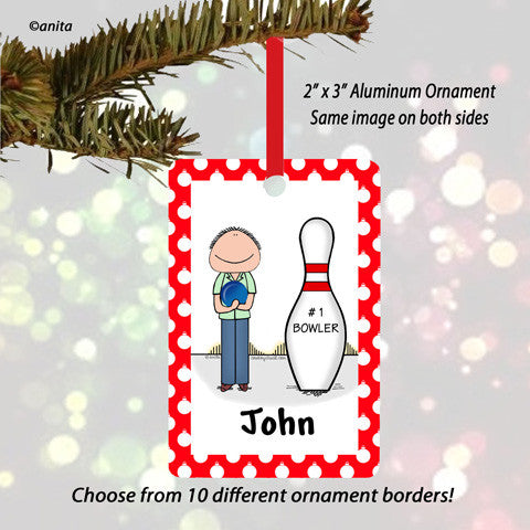 Bowler Ornament Male - Personalized