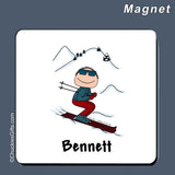 Skier Magnet Male Personalized