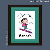 Skier Mat/Frame Female Personalized