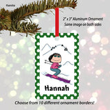 Skier Ornament Female - Personalized