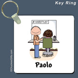 Hair Stylist Key Ring Male Personalized