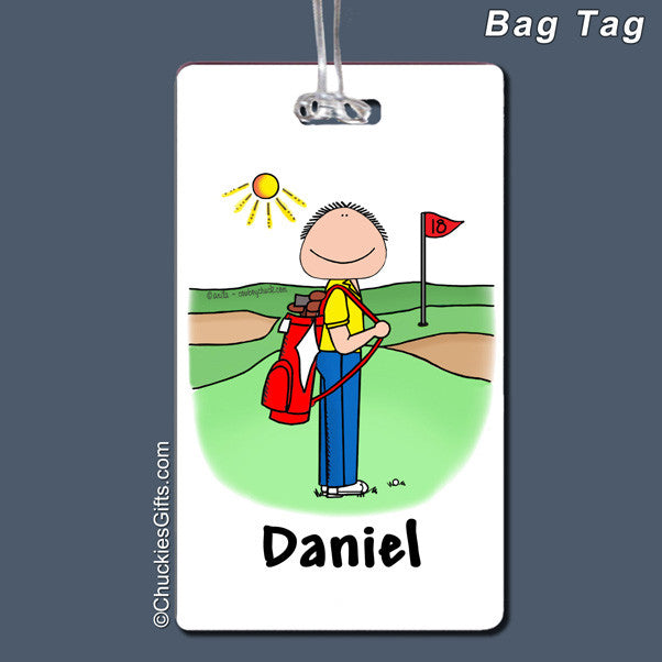 Golfer Bag Tag Male Personalized