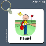 Golfer Key Ring Male Personalized