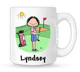 Golfer Mug Female Personalized
