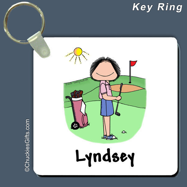 Golfer Key Ring Female Personalized
