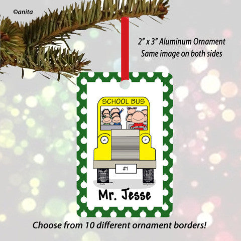 School Bus Driver Ornament Male - Personalized
