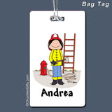 Firefighter Bag Tag Female Personalized