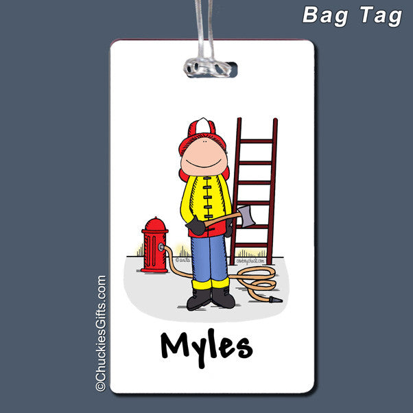 Firefighter Bag Tag Male Personalized
