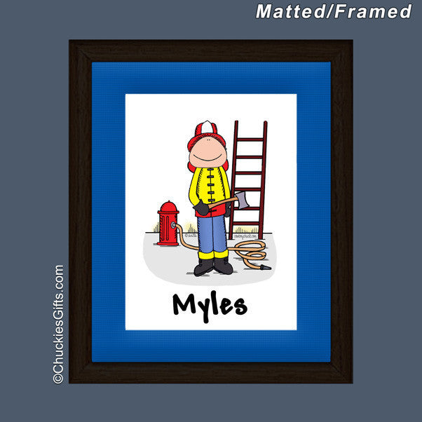 Firefighter Mat/Frame Male Personalized