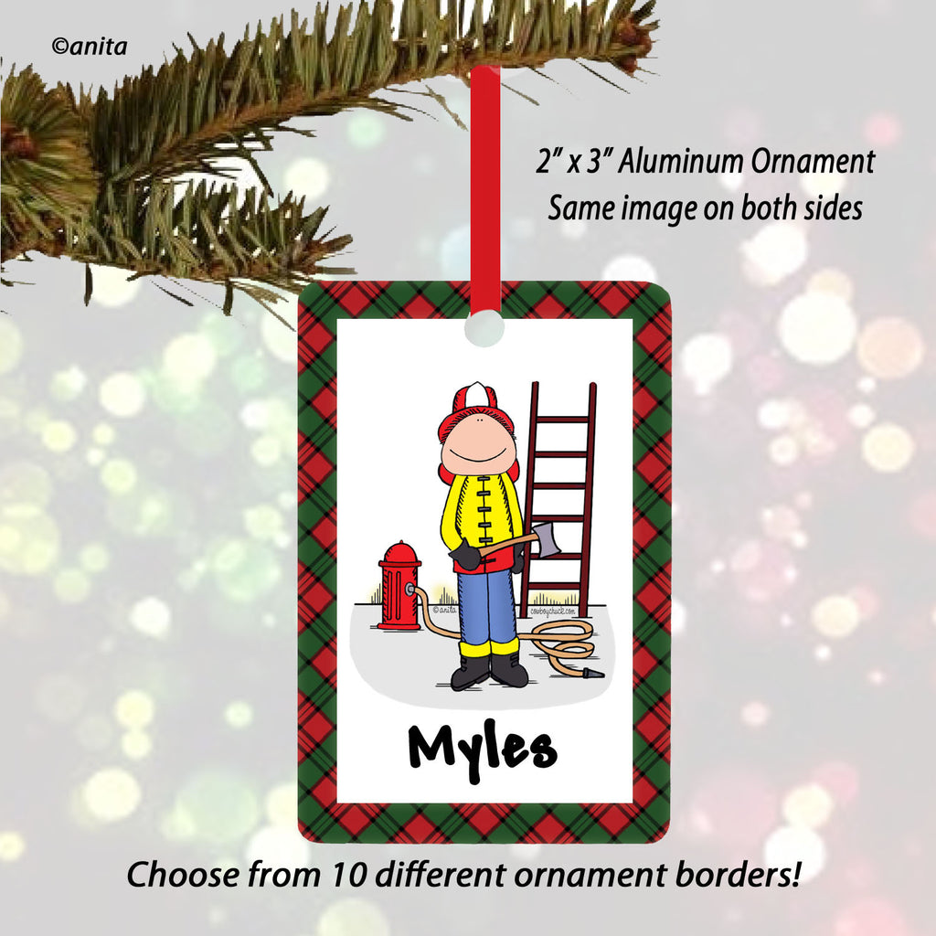 Firefighter Ornament | Personalized Cartoon Gifts – Cowboy Chuck ...