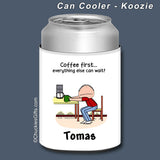 Coffee First Can Cooler Male Personalized