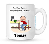 Coffee First Mug Male - Personalized