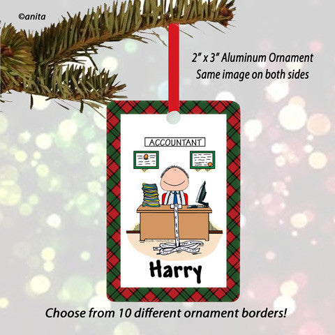 Accountant Ornament Male - Personalized