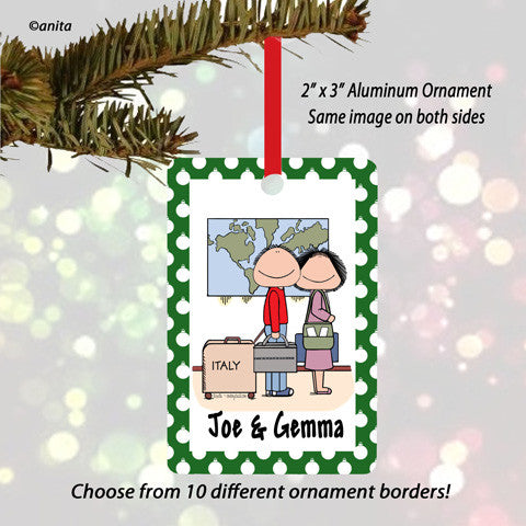 Traveler Couple Ornament - Personalized