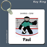 Hockey Goalie Key Ring Male - Personalized 2181
