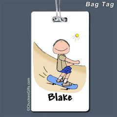 Skateboarder Bag Tag Male - Personalized 2194