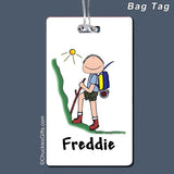 Hiker Bag Tag Male Personalized